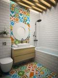 Внутренний современный перевод ванной комнаты 3D Стоковые Фото