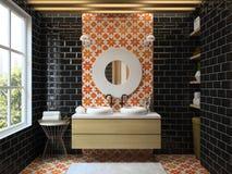 Внутренний современный перевод ванной комнаты 3D Стоковая Фотография RF