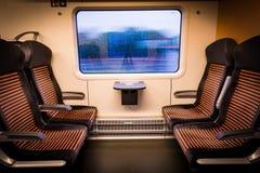Внутренний современный поезд смотря из окна Стоковое Изображение