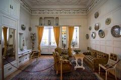 Внутренняя архитектурноакустическая деталь замка Peles от Румынии, также известная как королевский дворец стоковая фотография rf