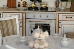 Внутренняя газовая плита кухни при железные баки и лотки, обедая оборудование Стоковые Изображения RF