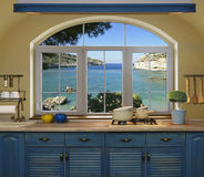 Внутренняя голубая кухня Стоковое фото RF