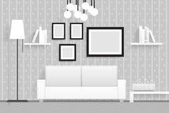Внутренняя живущая иллюстрация вектора дизайна мебели 3d комнаты реалистическая Стоковое фото RF