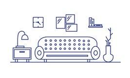 Внутренняя живущая комната, спальня Мебель в комнате Атмосфера современной квартиры иллюстрация вектора