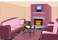 Внутренняя живущая комната с камином стоковые изображения rf