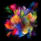 Внутренняя жизнь красочного взрыва выплеска краски стоковая фотография rf