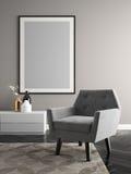 Внутренняя иллюстрация комнаты 3D современного дизайна Стоковая Фотография