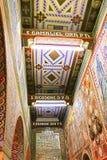 Внутренняя картина на стенах и потолке церков первого мученика St Stephen в монастыре Beit Jamal Стоковое Изображение