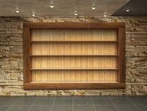 Внутренняя комната с каменной стеной, Стоковые Изображения RF