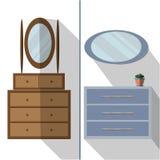 Внутренняя мебель комнаты для спальни, прихожей, комнаты дома C иллюстрация штока