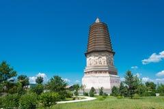 ВНУТРЕННЯЯ МОНГОЛИЯ, КИТАЙ - 8-ое августа 2015: Пагода Daming (Damingta) на Стоковое Изображение