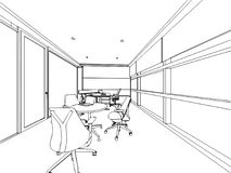 Внутренняя перспектива чертежа эскиза плана космоса Стоковое Изображение