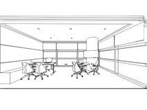 Внутренняя перспектива чертежа эскиза плана космоса Стоковые Изображения RF
