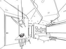 Внутренняя перспектива чертежа эскиза плана космоса Стоковые Фотографии RF