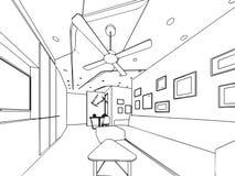 Внутренняя перспектива чертежа эскиза плана космоса Стоковая Фотография RF
