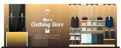 Внутренняя предпосылка роскошного магазина одежды людей иллюстрация вектора