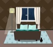 Внутренняя спальня с котом, кроватью и окном также вектор иллюстрации притяжки corel иллюстрация вектора