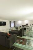 Внутренняя, широкая просторная квартира, студия Стоковые Изображения