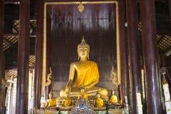 Внутри виска с золотым Buddhas Chiang Mai, Таиланд стоковая фотография rf