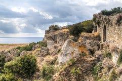 Внутри замка Koroni, Греция стоковая фотография rf
