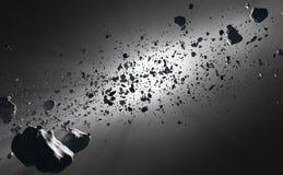Внутри кольца астероидов против солнца Стоковые Фотографии RF