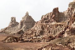 Внутри кратера взрыва вулкана Dallol, депрессия Danakil, Эфиопия стоковое фото rf