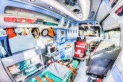 Внутри машины скорой помощи Версия HDR Стоковые Изображения RF