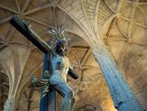 Внутри монастыря Jeronimo, Belem, Лиссабон, Португалия Стоковое Изображение RF