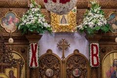 Внутри православной церков церков на пасхе Стоковые Фотографии RF