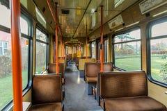 Внутри старого трамвая стоковое фото