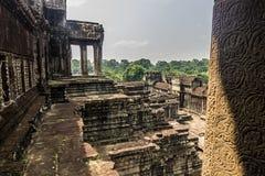 Внутри стен Angkor Wat, Камбоджа стоковые изображения