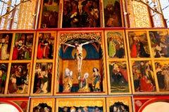 Внутри укрепленной церков Biertan saxon, Трансильвания стоковые фото