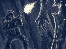 Внутри усыпальницы солдат грабителя встречал мумию иллюстрация вектора