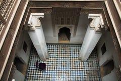 Внутри medersa Бен Youssef в Marrakesh, Марокко Стоковые Изображения RF