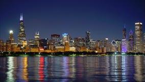Внушительная съемка промежутка времени горизонта Чикаго видеоматериал