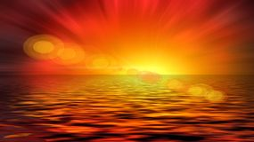 внушительный заход солнца Стоковое Изображение