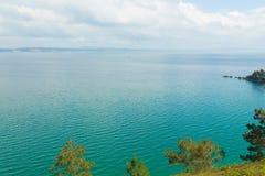 вода взгляда неба океана облака Предпосылка природы с никто Morgat, полуостров Crozon, Бретань, Франция Стоковое Изображение RF
