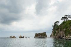 вода взгляда неба океана облака Предпосылка природы с никто Morgat, полуостров Crozon, Бретань, Франция Стоковые Фото