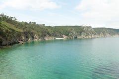 вода взгляда неба океана облака Предпосылка природы с никто Morgat, полуостров Crozon, Бретань, Франция Стоковое Фото