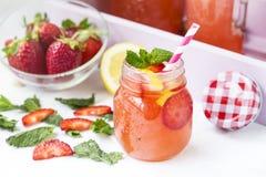 Вода вытрезвителя с клубниками, лимоном и мятой Стоковое Изображение RF