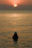 вода захода солнца Стоковая Фотография RF