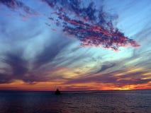 вода захода солнца Стоковая Фотография