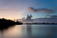 вода захода солнца miami Стоковое фото RF