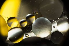 Вода и масло, красивая предпосылка конспекта цвета основанная на белых желтых и серых кругах и овалах, абстракции макроса Стоковое Изображение