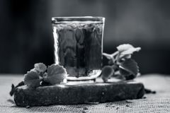 Вода листьев ajwain и семян, ammi Trachyspermum в стекле полезном для потери веса Стоковые Изображения