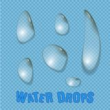 Вода падает реалистический изолированный вектор Прозрачная вода падает поверхность Стоковое Изображение