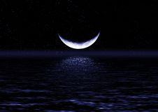вода половинной луны отраженная Стоковое Изображение RF