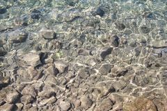 Вода предпосылки, поверхность моря на утесах, конца вверх Отражение лучей солнца в воде и мелкой почве, мелководье океана стоковое фото