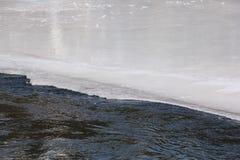 Вода пропуская через плавя поверхность льда реки Стоковое фото RF