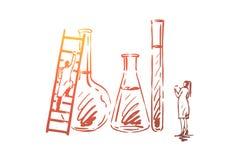 Вода, химикат, наука, лаборатория, научная концепция Вектор нарисованный рукой изолированный иллюстрация вектора